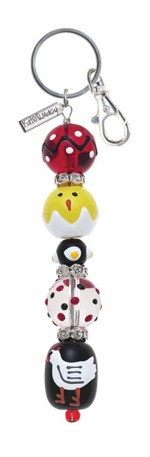 Chicken and Chicks Rhinestone Glass Beaded Kate and Macy Keychain Clementine