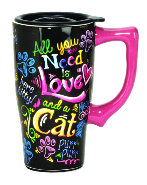 All You  Need is Love and A Cat Ceramic Travel Mug 16 Ounce Coffee Tea Latte