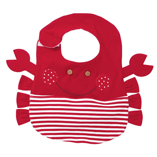 Bright Red Crab with Appliqued Pocket Cloth Boy or Girl Baby Toddler Bib