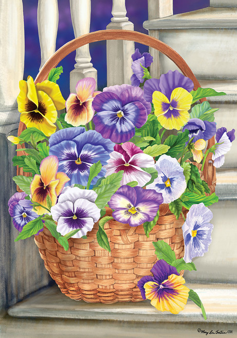 Basket Full of Pretty Pansy Flowers on Steps 12 X 18 Garden Flag