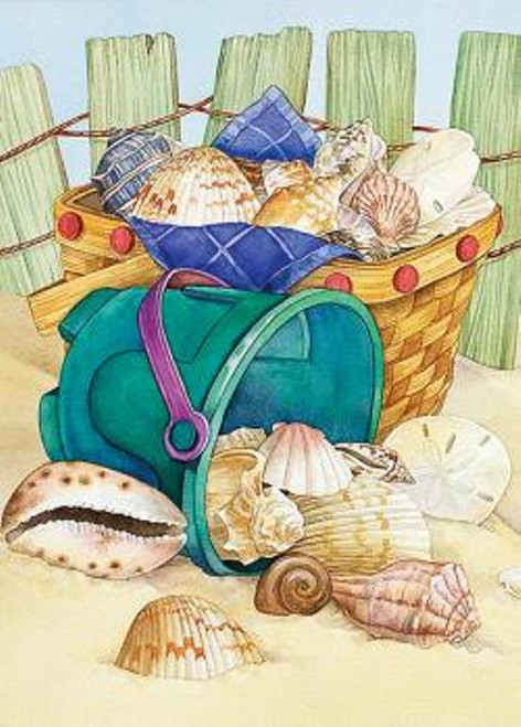 Beach Bucket Seashell Collector Garden Flag GF