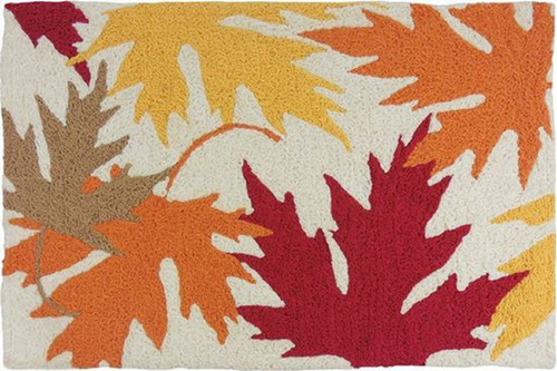 Autumnal Leaves Golden Red Orange Yellow Accent Rug 33 X 21 Inches