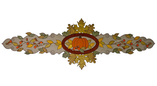 Autumn Wheat Fall Leaves and Pumpkin Kitchen Dining Table Runner 72 Inches