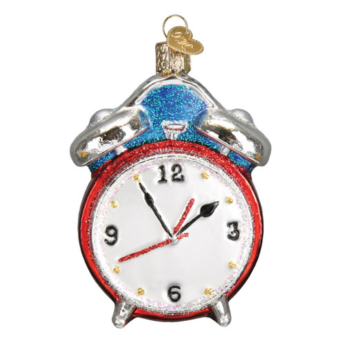 Alarm Clock Retro Look Christmas Holiday Ornament Glass 3.75 Inches