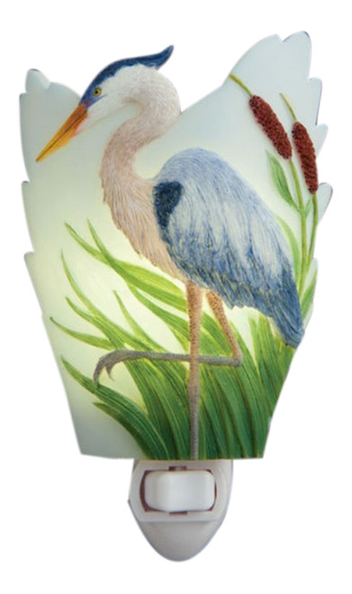 Blue Heron Poised in Cattails Night Light Bonded Marble Electric