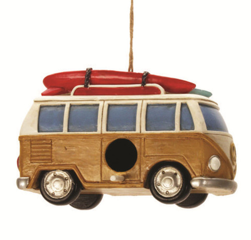Beach Van With Surfboard Birdhouse 8 Inch Resin Shaped Backyard Garden Decor