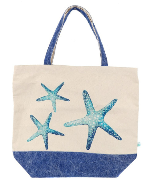 Blue Starfish Coastal Shopping or Beach Tote Washed Cotton 18 Inches