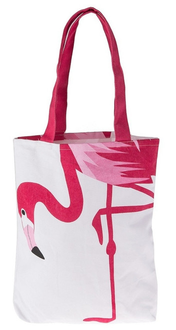 Bright Hot Pink Flamingo on White Cotton Tote Shopping Bag 15 Inches