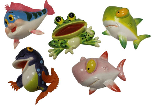 Baby Sharks Frog Happy Fish Dimensional Wall Decor Set of 5 Eight Inches Each