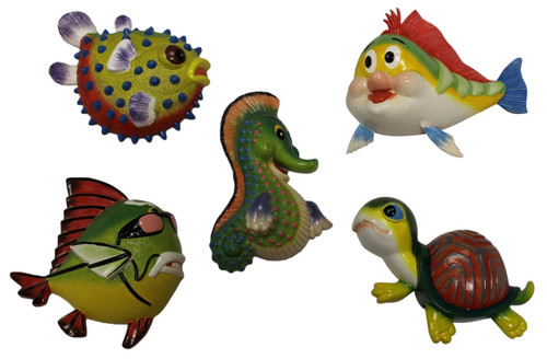 Baby Turtle Green Gator Happy Fish Dimensional Wall Decor Set of 5 Eight Inches
