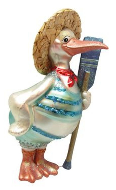 Pelican with Boat Oar Christmas Holiday Ornament Glass