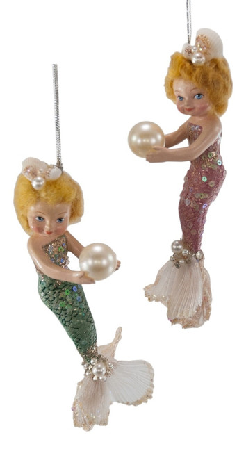 Baby Girl Mermaids With Pearls Christmas Holiday Ornament Set of 2