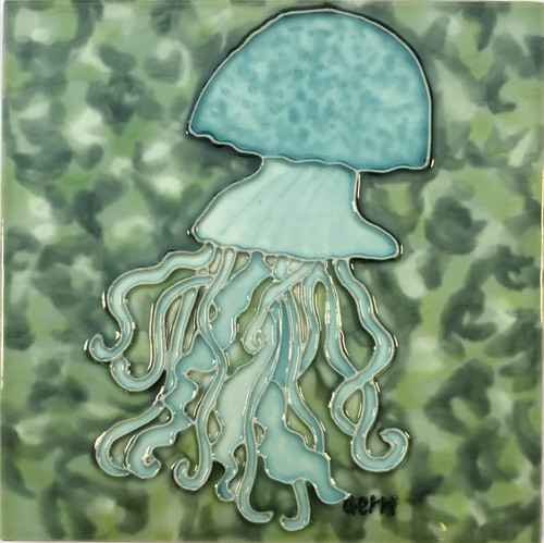 Teal Blue Jellyfish Swimming In Ocean 6x6 Inches Ceramic