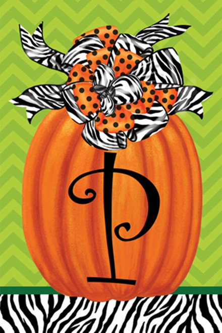 Beautiful Autumn Zebra Pumpkin  Monogram P Double Sided Garden Flag