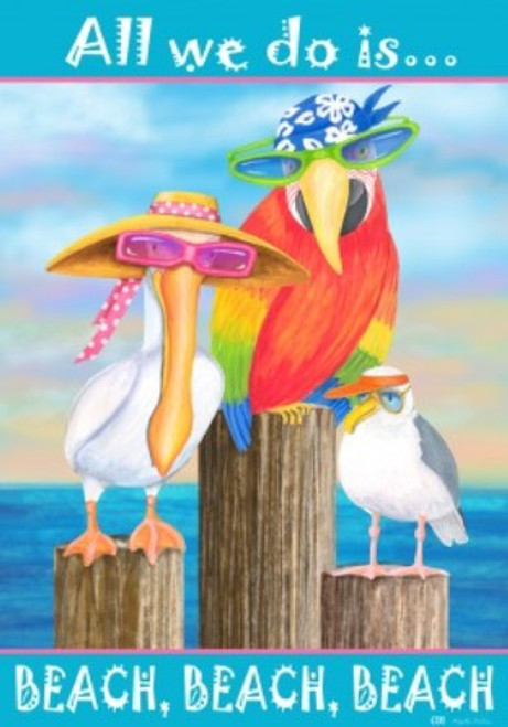 All We Do Is Beach Beach Beach Shore Birds Pelican Parrot Seagull Garden Flag