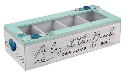 A Day at Beach Restores The Soul Wood Lidded Storage Box