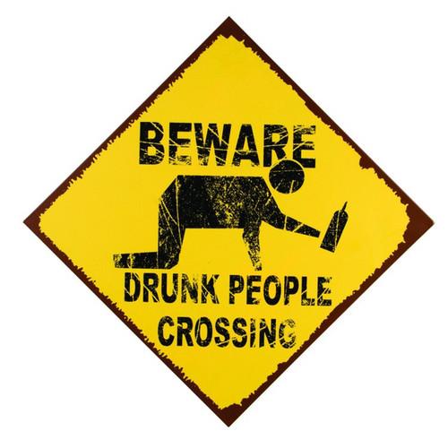 Funny Drunk People Crossing Yellow Warning Sign Metal