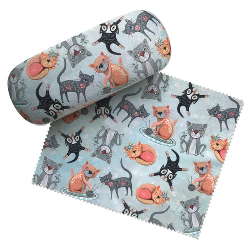 Cat House Fun Kitties Eyeglass Case and Matching Lens Cleaning Cloth