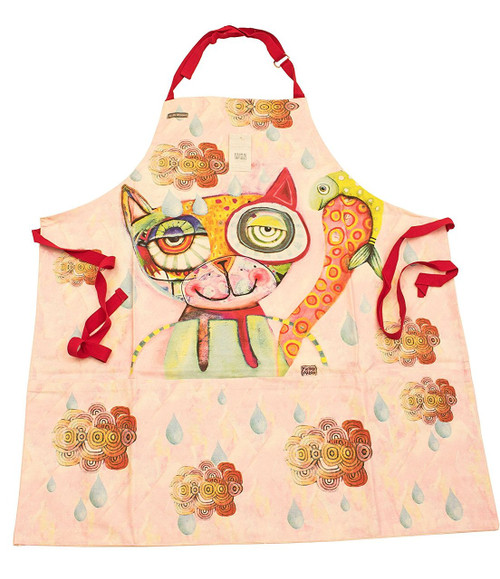 Cat Fish Kitchen Apron Printed Cotton With Pockets