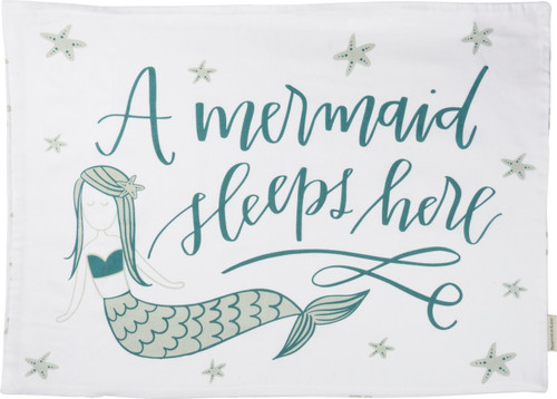 A Mermaid Sleeps Here Single Pillow Case Standard Size Printed Cotton