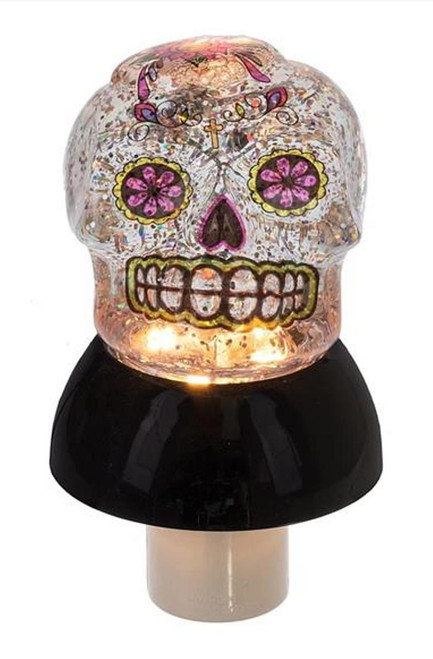 Day of the Dead Skull LED Shimmer Night Light Electric