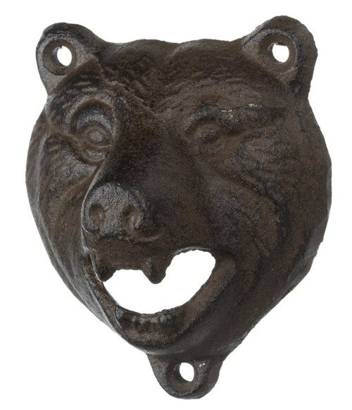 Bear Head Bottle Opener Wall Mounted Cast Iron