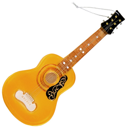 Acoustic Guitar Christmas Holiday Ornament Glass