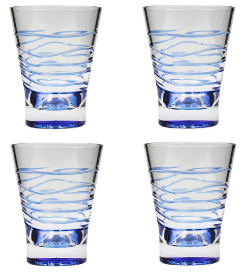 14 Ounces Blue Swirl Acrylic Tumbler Drinkware Set of 4
