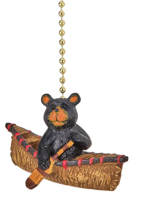 Bear Rowing a Canoe Ceiling Fan Light Dimensional Pull