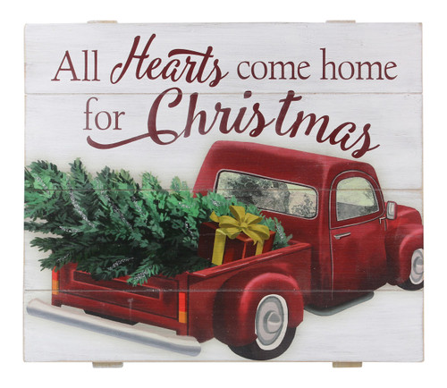 All Hearts Come Home for Christmas Red Truck Wall Sign Wood 15.75 Inches