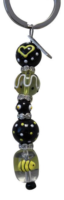 Bee Rhinestone Glass Beaded Kate and Macy Keychain Clementine