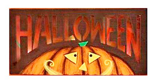 Free Shipping Lights Up Wooden Jack O Lantern Halloween Wall Plaque