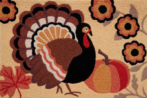 Autumn Pumpkin Fall Leaves Rustic Turkey 21 X 33 Inch Area Accent Rug