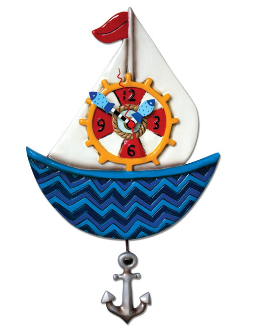 Ahoy Sailboat Ship Wheel Anchor Pendulum Battery Operated Wall Clock