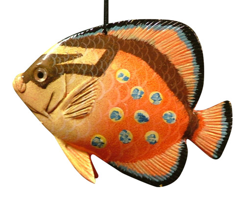 3D Tropical Fish Christmas Ornament 6 Inches Orange Spotted 6ORN39 Resin