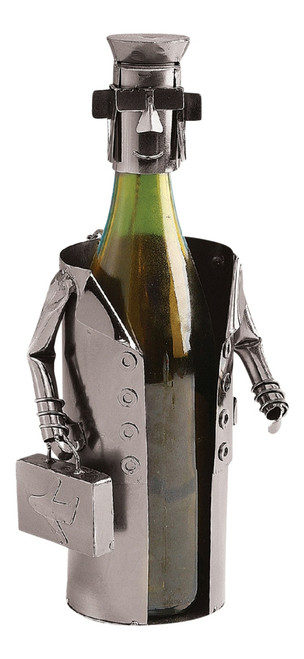 Airline Pilot Aviator Steward Polished Metal Wine Caddy Bottle Holder