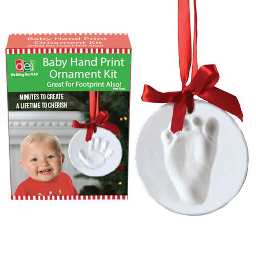 Baby Child Grandchild Handprint Footprint DIY Christmas Holiday Ornament Kit