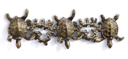 Antiqued Brass Look Sea Turtle Swimming in Coral Trio Wall Hooks