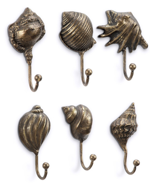 Antiqued Brass Look Seashells Single Wall Hooks Set of 6