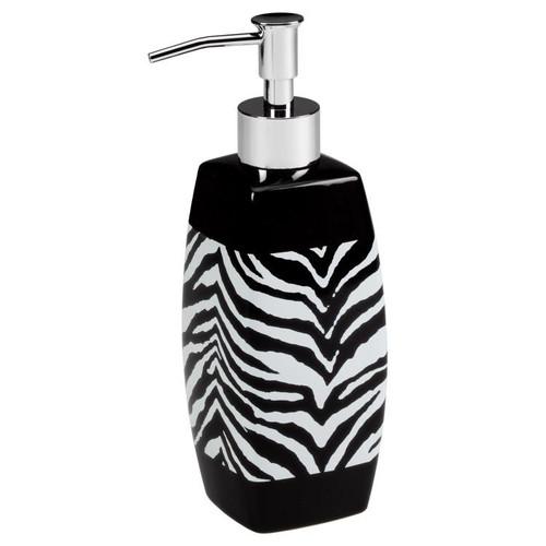 Black N White Bathroom: Zebra Pattern Black White Bathroom Lotion Soap Pump
