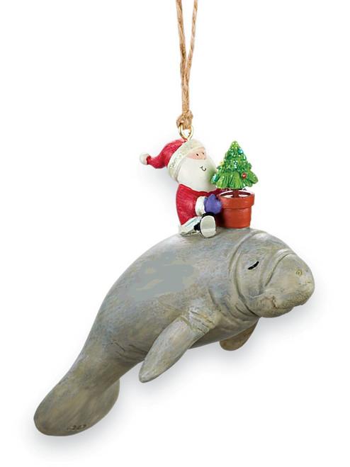 Santa Riding Manatee Nautical Coastal Christmas Holiday