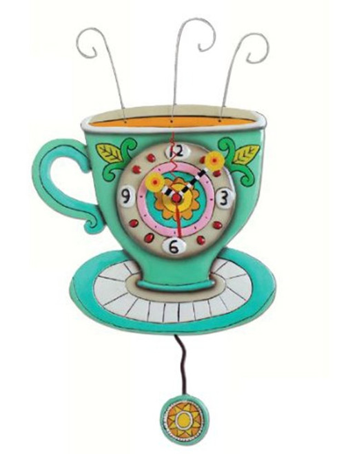 Sunny Cup Full Of Coffee Kitchen Pendulum Battery Operated