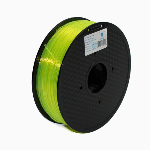 A 1KG spool of SnoLabs Transparent Yellow PETG (1.75mm)