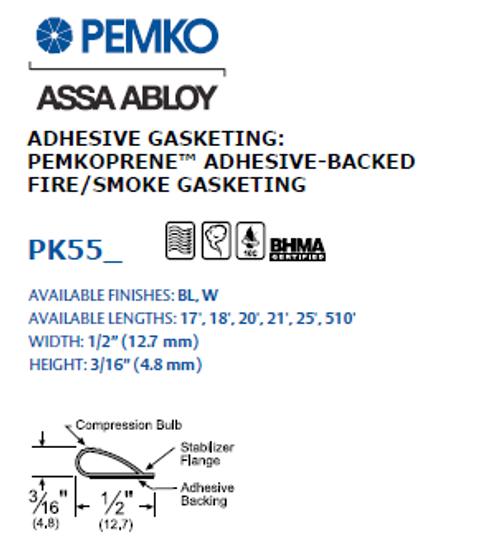 Pemko PK55 - Self Adhesive Weather Seal Gasket (20' Roll)