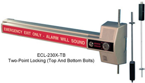 Detex ECL 230X TD/TB Models - Rim Exit Device (with Alarm & Vertical Rods)