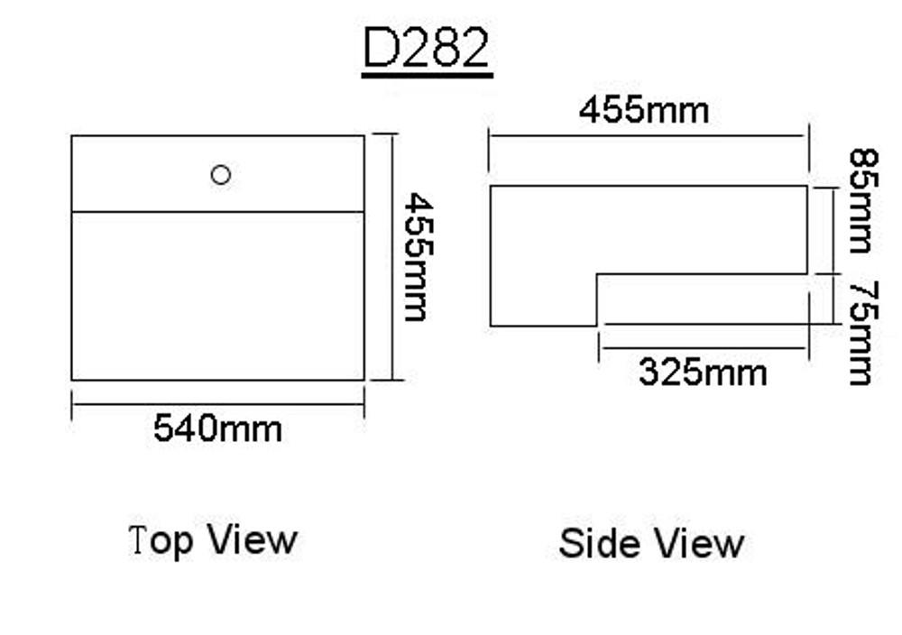 Rectangular Semi Recess Basin D282