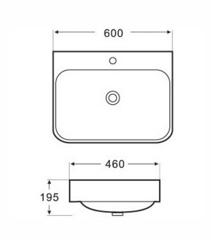 Rectangular Semi Recess Basin 4025