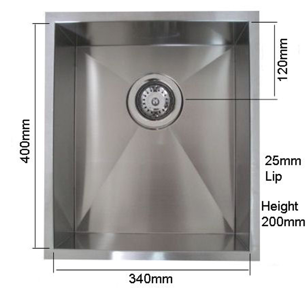 NORMANDY CUBE SINGLE BOWL SINK 340 UNDERMOUNT OR DROP IN