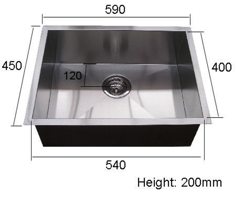NORMANDY CUBE SINGLE BOWL SINK 540 UNDERMOUNT OR DROP IN