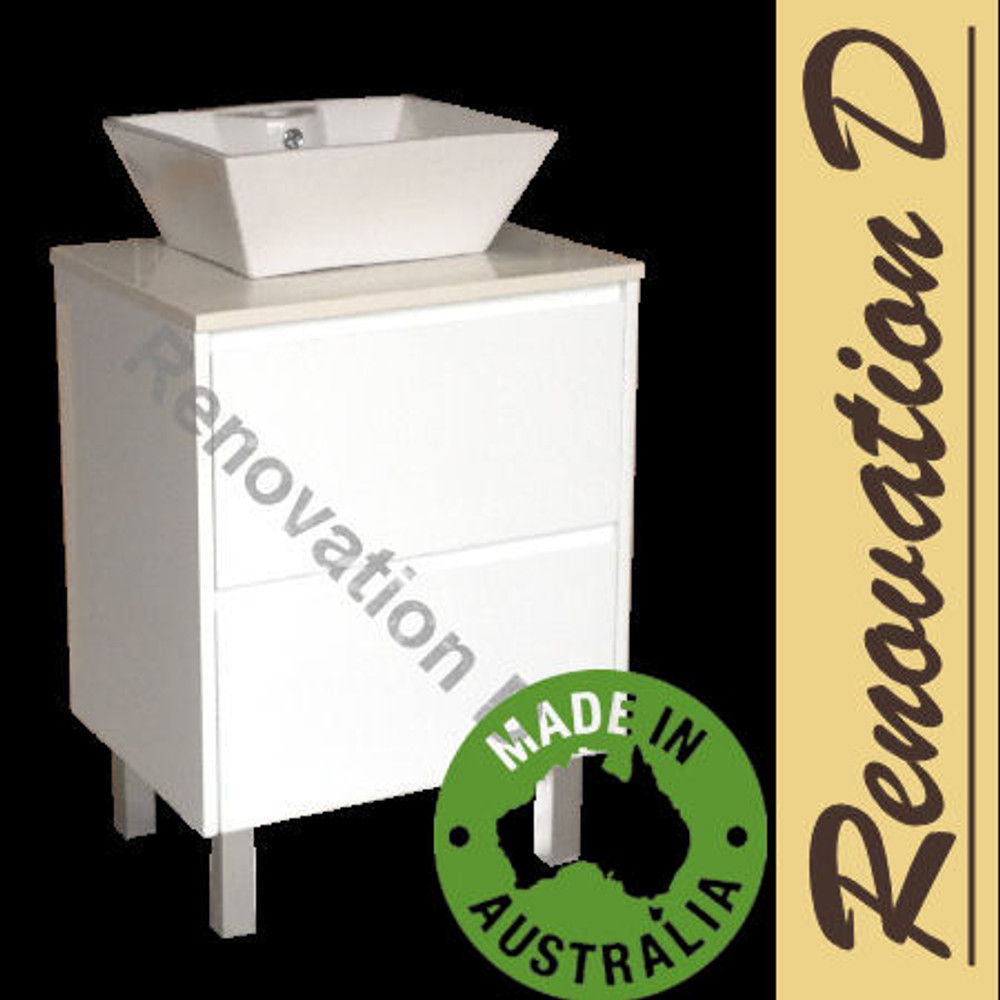 Evolution DRAWER Vanity with Stone Bench & Benchtop Basin 600mm Floor Staning on Kick Board HK